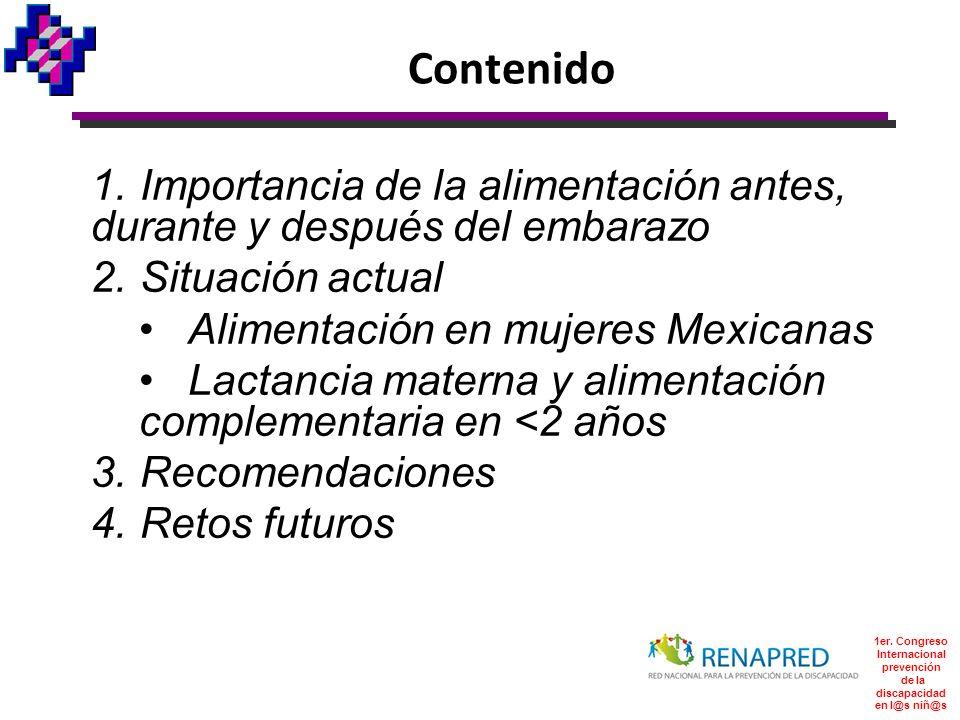 Contenido 1.Importancia de la alimentación antes, durante y después del embarazo 2.Situación actual Alimentación en mujeres Mexicanas Lactancia matern