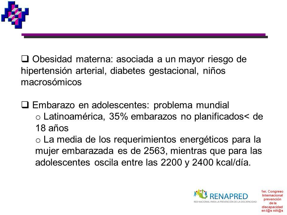 1er. Congreso Internacional prevención de la discapacidad en l@s niñ@s Obesidad materna: asociada a un mayor riesgo de hipertensión arterial, diabetes