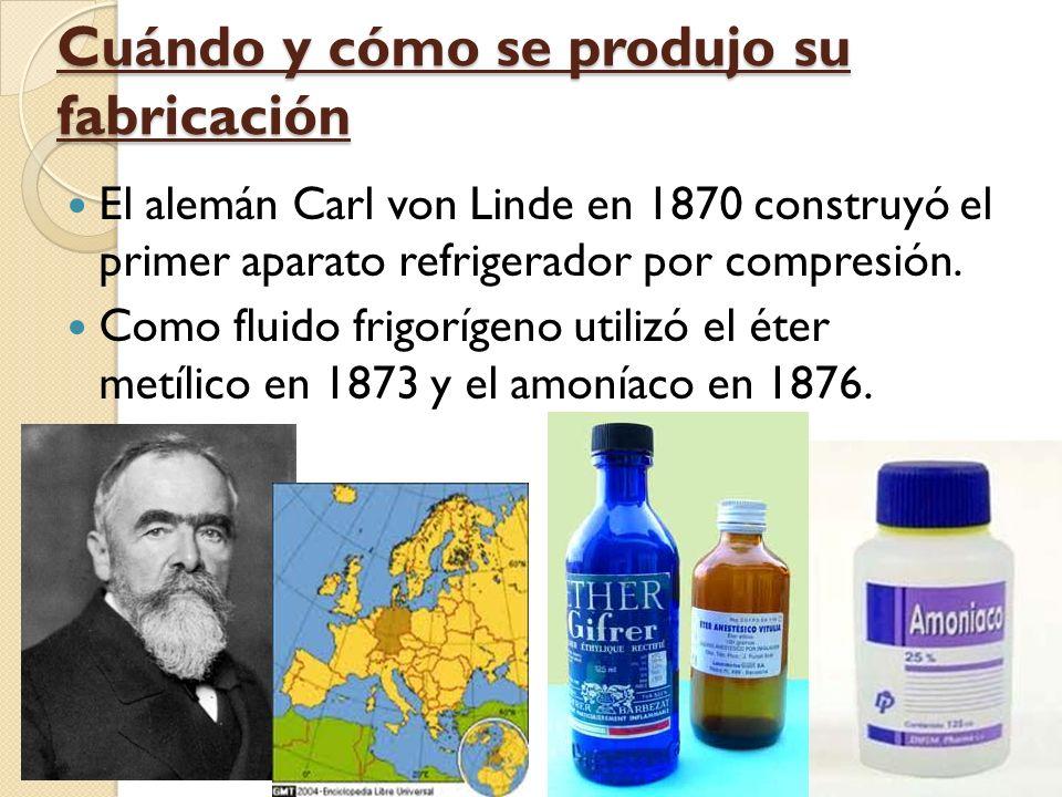 Cuándo y cómo se produjo su fabricación El alemán Carl von Linde en 1870 construyó el primer aparato refrigerador por compresión.