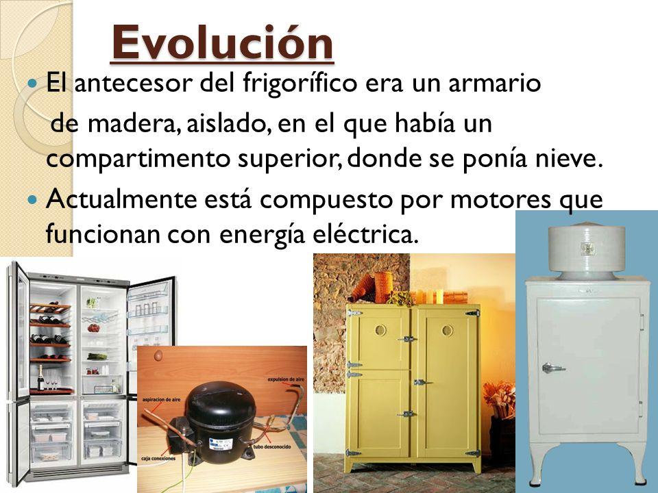 Evolución El antecesor del frigorífico era un armario de madera, aislado, en el que había un compartimento superior, donde se ponía nieve.