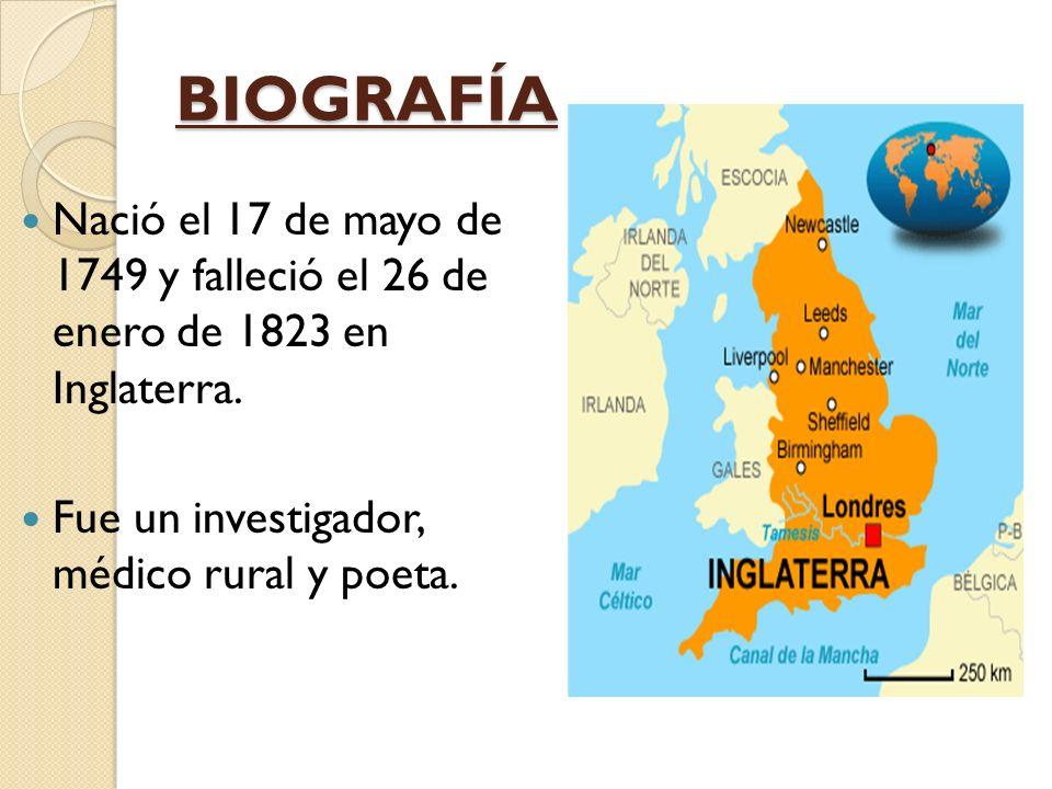 BIOGRAFÍA Nació el 17 de mayo de 1749 y falleció el 26 de enero de 1823 en Inglaterra.