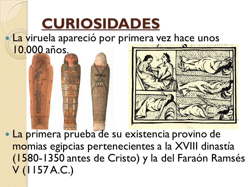 CURIOSIDADES La viruela apareció por primera vez hace unos 10.000 años.