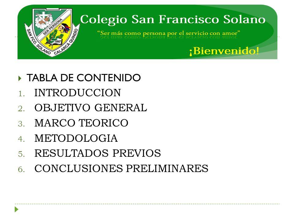 TABLA DE CONTENIDO 1. INTRODUCCION 2. OBJETIVO GENERAL 3. MARCO TEORICO 4. METODOLOGIA 5. RESULTADOS PREVIOS 6. CONCLUSIONES PRELIMINARES