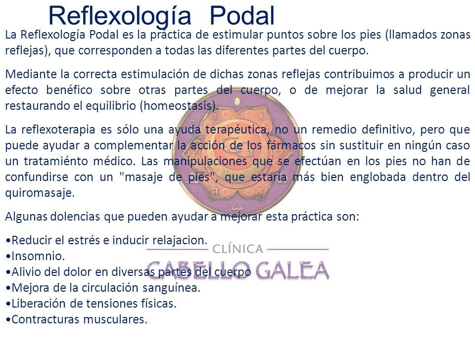 La Reflexología Podal es la práctica de estimular puntos sobre los pies (llamados zonas reflejas), que corresponden a todas las diferentes partes del