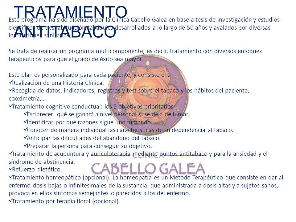 TRATAMIENTO ANTITABACO Este programa ha sido diseñado por la Clínica Cabello Galea en base a tesis de investigación y estudios científicos de deshabit