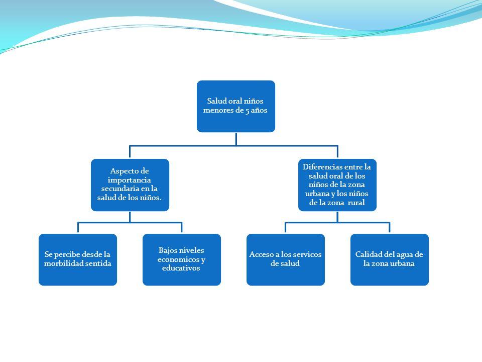 Salud oral niños menores de 5 años Aspecto de importancia secundaria en la salud de los niños.