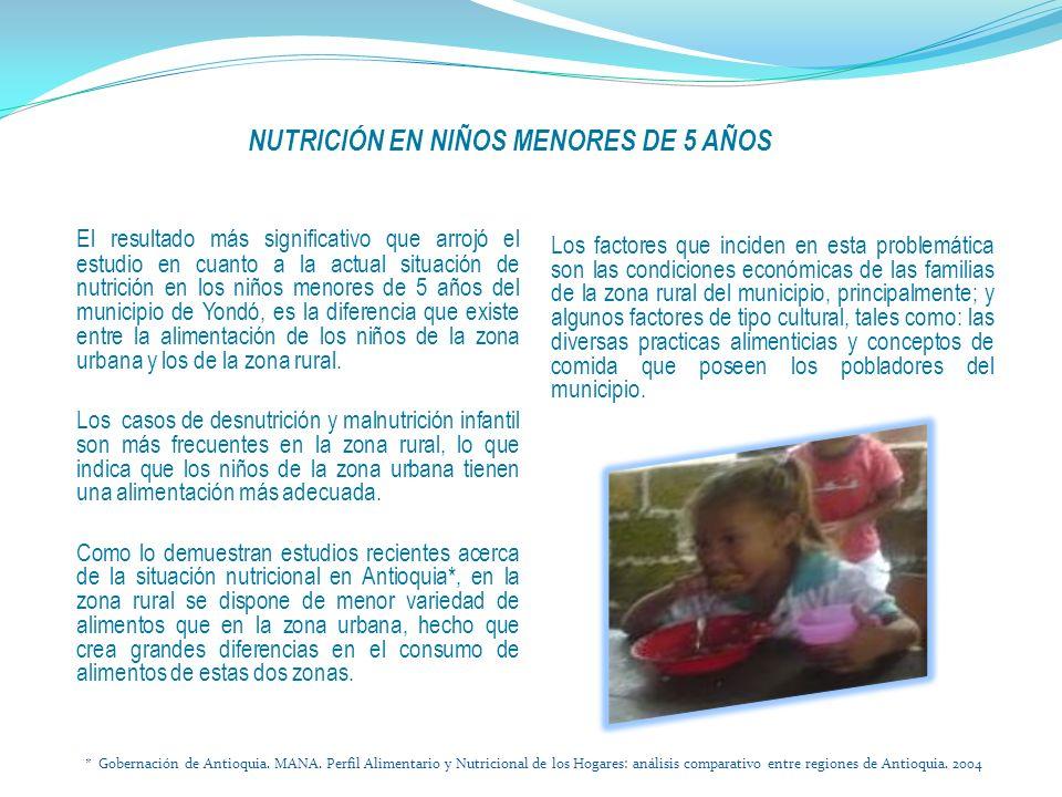 El resultado más significativo que arrojó el estudio en cuanto a la actual situación de nutrición en los niños menores de 5 años del municipio de Yondó, es la diferencia que existe entre la alimentación de los niños de la zona urbana y los de la zona rural.