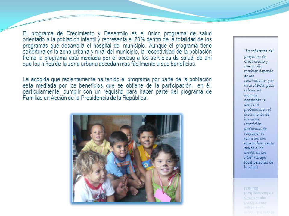 El programa de Crecimiento y Desarrollo es el único programa de salud orientado a la población infantil y representa el 20% dentro de la totalidad de los programas que desarrolla el hospital del municipio.