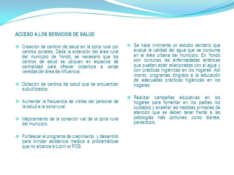 ACCESO A LOS SERVICIOS DE SALUD Creación de centros de salud en la zona rural por centros zonales.