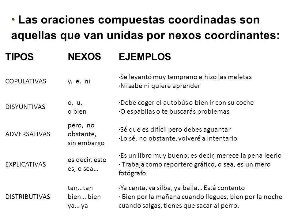 Las oraciones compuestas coordinadas son aquellas que van unidas por nexos coordinantes: TIPOSNEXOSEJEMPLOS COPULATIVASy, e, ni ·Se levantó muy tempra
