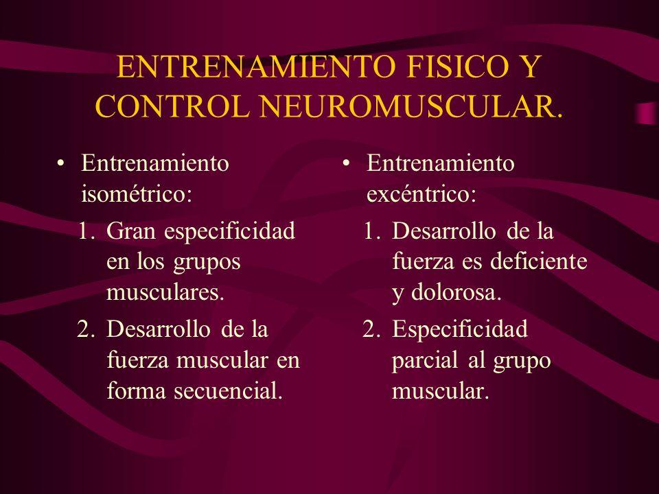 ENTRENAMIENTO FISICO Y CONTROL NEUROMUSCULAR. Entrenamiento isométrico: 1.Gran especificidad en los grupos musculares. 2.Desarrollo de la fuerza muscu