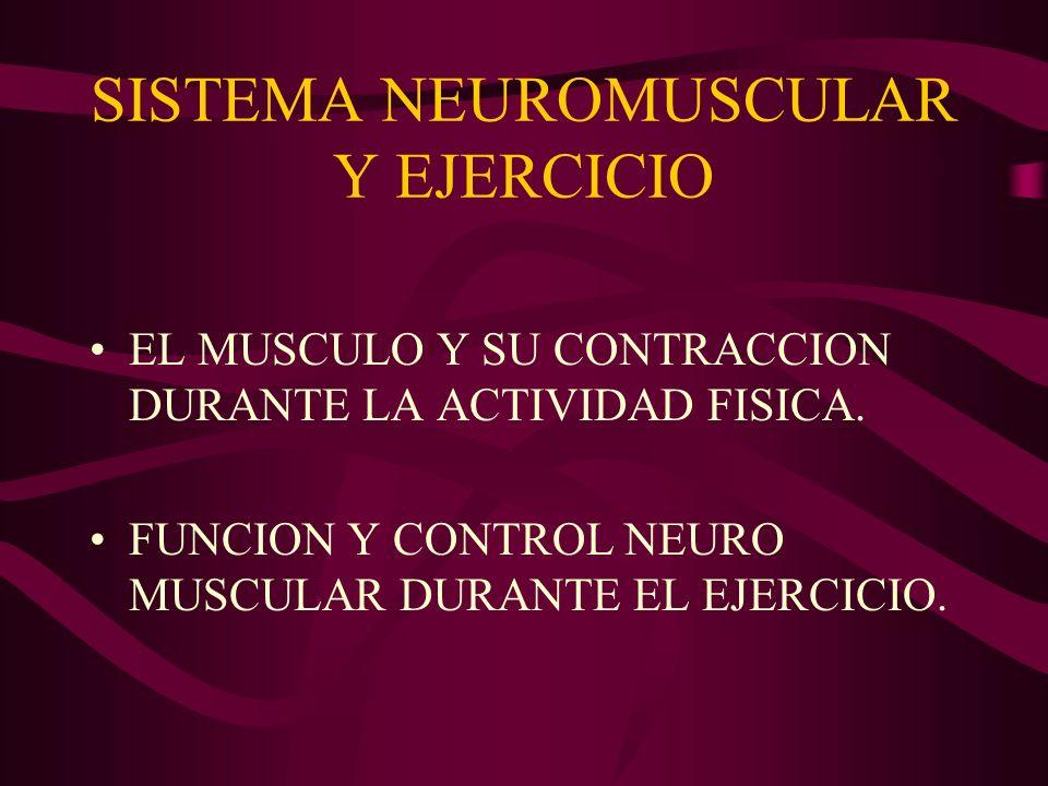 SISTEMA NEUROMUSCULAR Y EJERCICIO EL MUSCULO Y SU CONTRACCION DURANTE LA ACTIVIDAD FISICA. FUNCION Y CONTROL NEURO MUSCULAR DURANTE EL EJERCICIO.