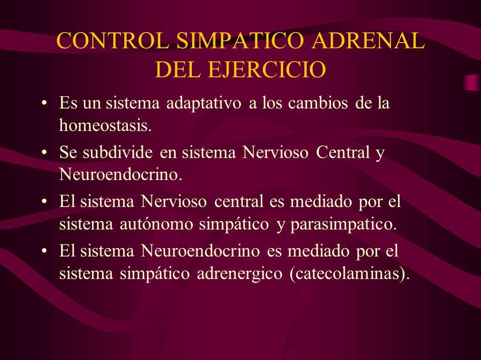 CONTROL SIMPATICO ADRENAL DEL EJERCICIO Es un sistema adaptativo a los cambios de la homeostasis. Se subdivide en sistema Nervioso Central y Neuroendo