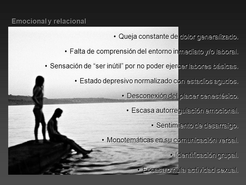 Emocional y relacional Emocional y relacional Queja constante de dolor generalizado.Queja constante de dolor generalizado. Falta de comprensión del en