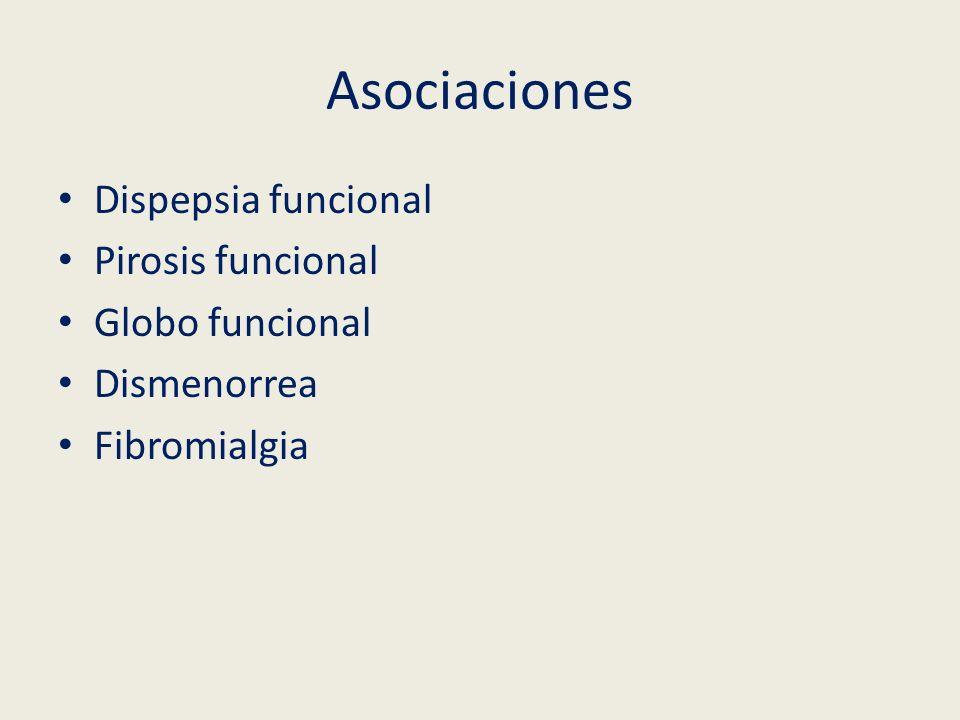 Asociaciones Dispepsia funcional Pirosis funcional Globo funcional Dismenorrea Fibromialgia