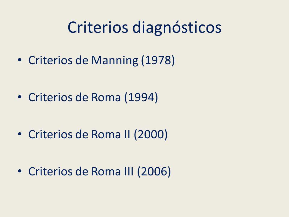 Criterios diagnósticos Criterios de Manning (1978) Criterios de Roma (1994) Criterios de Roma II (2000) Criterios de Roma III (2006)