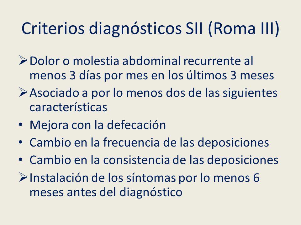 Criterios diagnósticos SII (Roma III) Dolor o molestia abdominal recurrente al menos 3 días por mes en los últimos 3 meses Asociado a por lo menos dos