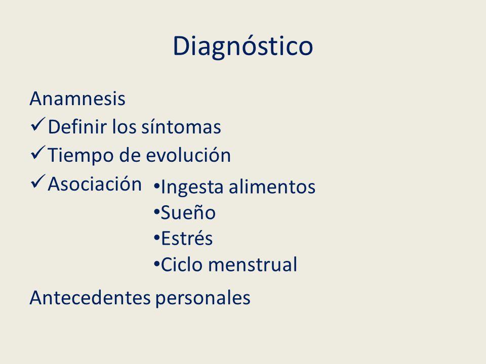 Diagnóstico Anamnesis Definir los síntomas Tiempo de evolución Asociación Antecedentes personales Ingesta alimentos Sueño Estrés Ciclo menstrual