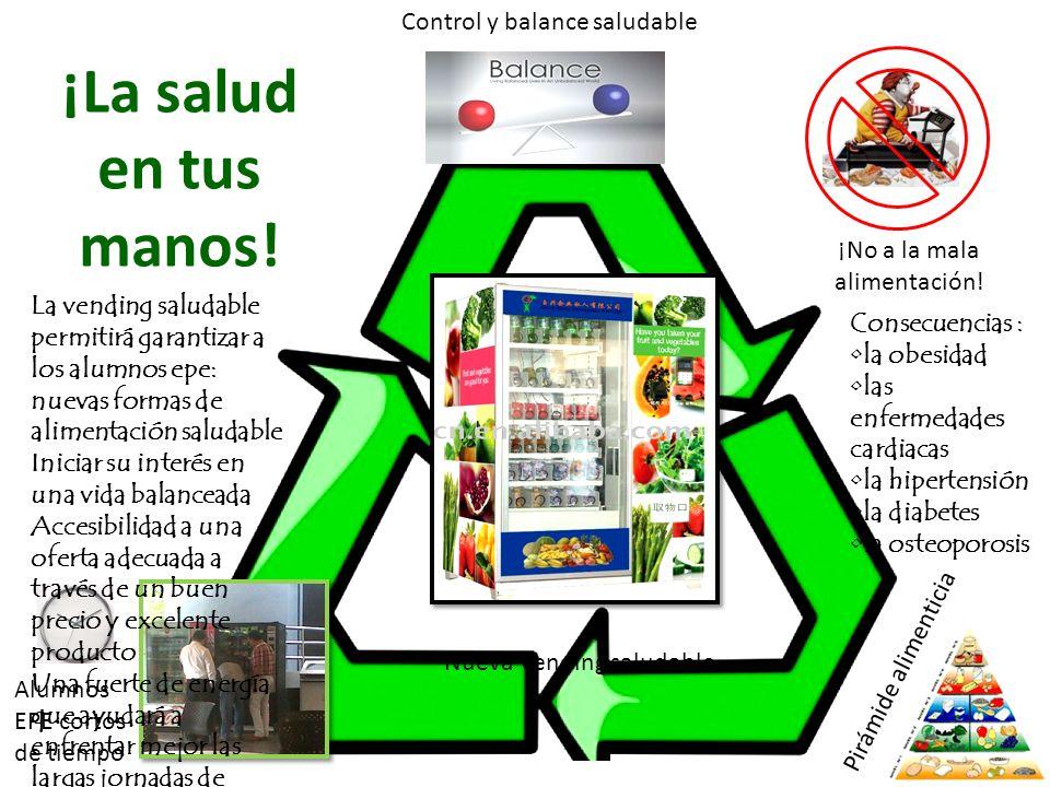 Alumnos EPE cortos de tiempo Control y balance saludable Pirámide alimenticia ¡La salud en tus manos! ¡No a la mala alimentación! Nueva Vending saluda