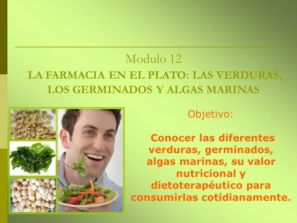 Modulo 12 LA FARMACIA EN EL PLATO: LAS VERDURAS, LOS GERMINADOS Y ALGAS MARINAS Objetivo: Conocer las diferentes verduras, germinados, algas marinas,