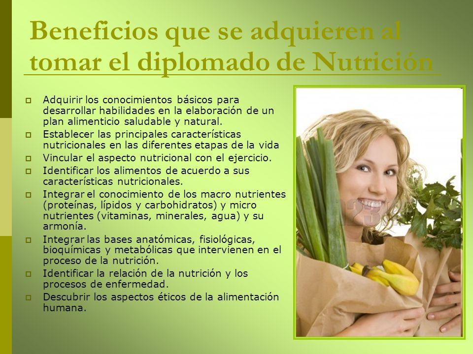 Adquirir los conocimientos básicos para desarrollar habilidades en la elaboración de un plan alimenticio saludable y natural. Establecer las principal