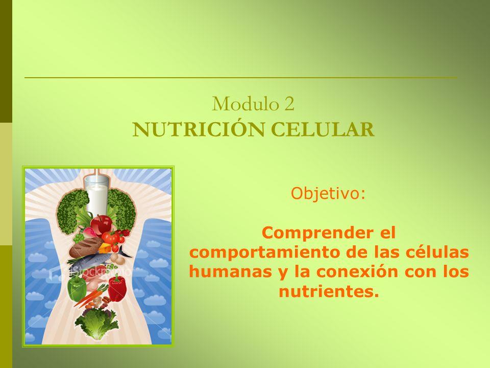 Modulo 2 NUTRICIÓN CELULAR Objetivo: Comprender el comportamiento de las células humanas y la conexión con los nutrientes.