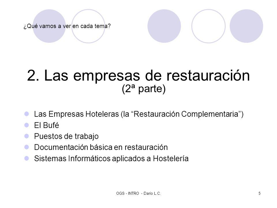 OGS - INTRO - Darío L.C.5 ¿Qué vamos a ver en cada tema? 2. Las empresas de restauración (2ª parte) Las Empresas Hoteleras (la Restauración Complement