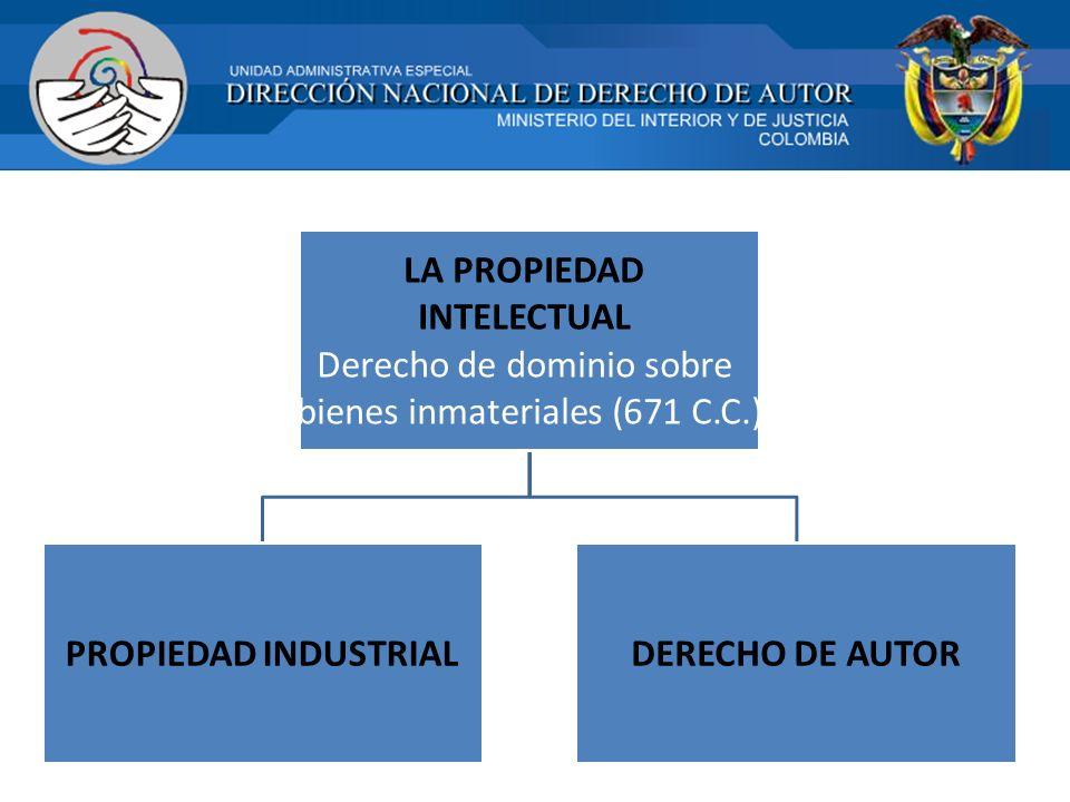 LA PROPIEDAD INTELECTUAL Derecho de dominio sobre bienes inmateriales (671 C.C.) PROPIEDAD INDUSTRIALDERECHO DE AUTOR