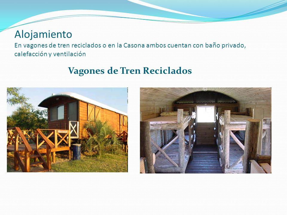 Alojamiento En vagones de tren reciclados o en la Casona ambos cuentan con baño privado, calefacción y ventilación Vagones de Tren Reciclados