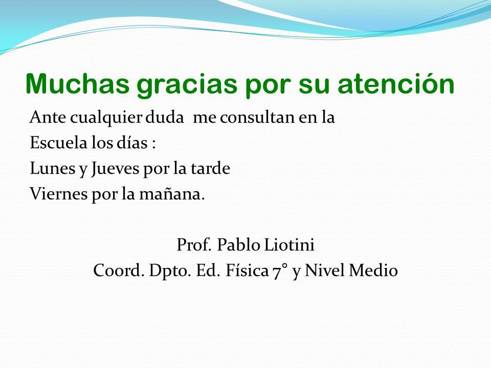 Muchas gracias por su atención Ante cualquier duda me consultan en la Escuela los días : Lunes y Jueves por la tarde Viernes por la mañana. Prof. Pabl