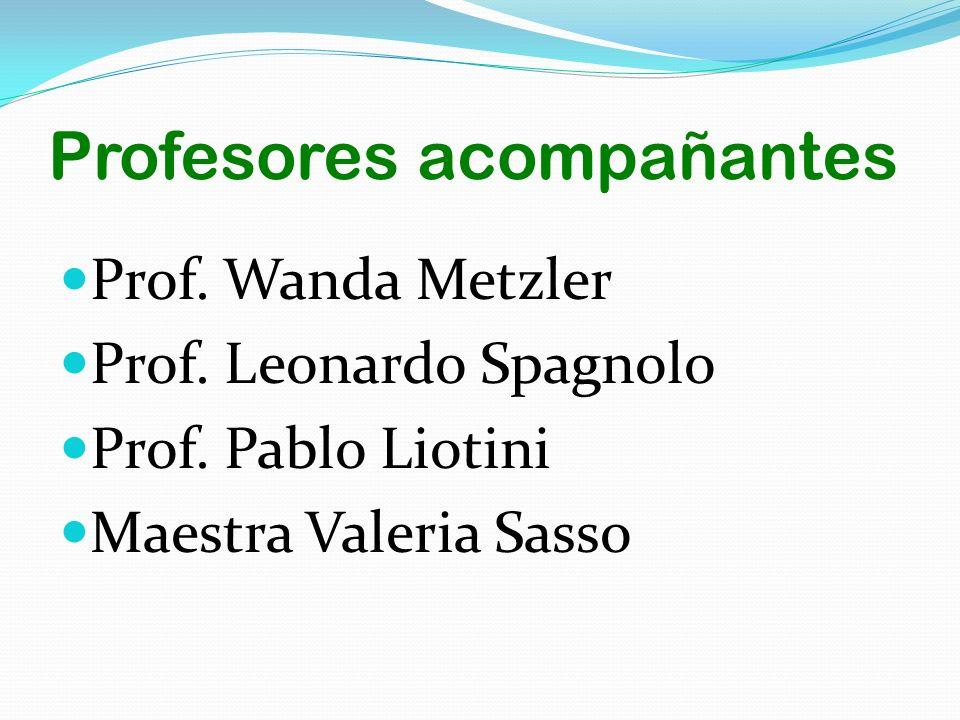 Profesores acompañantes Prof. Wanda Metzler Prof. Leonardo Spagnolo Prof. Pablo Liotini Maestra Valeria Sasso