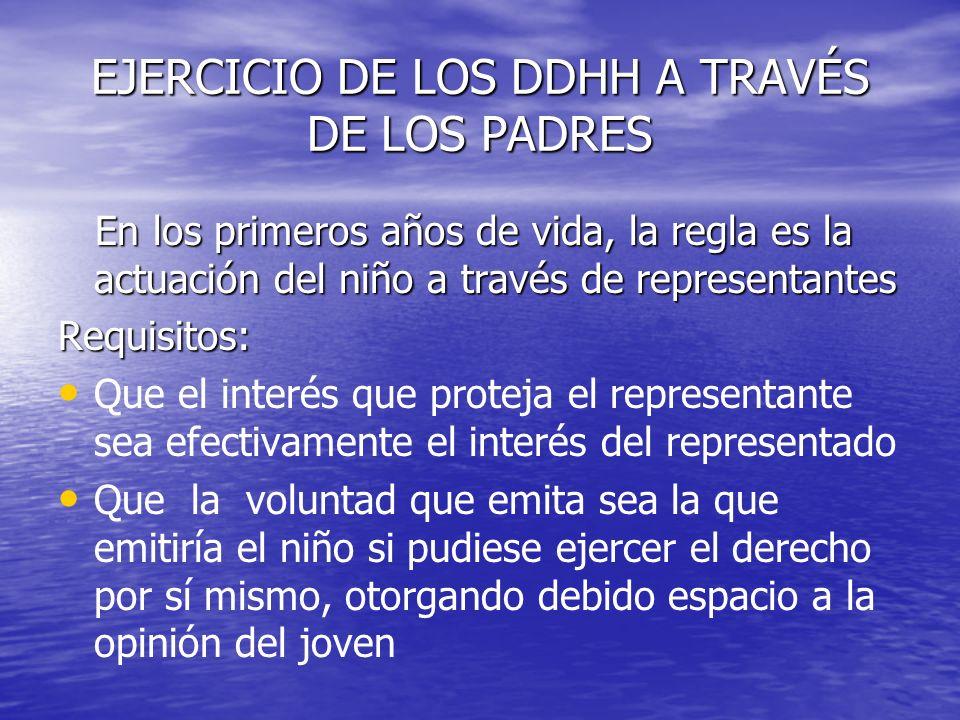 EJERCICIO DE LOS DDHH A TRAVÉS DE LOS PADRES En los primeros años de vida, la regla es la actuación del niño a través de representantes En los primero