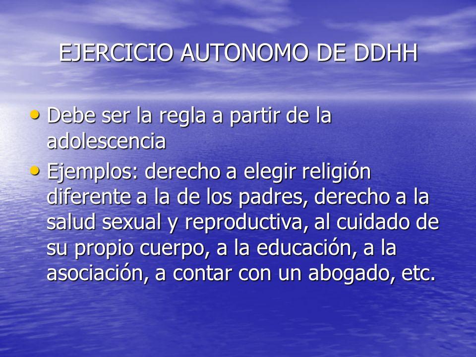 EJERCICIO AUTONOMO DE DDHH Debe ser la regla a partir de la adolescencia Debe ser la regla a partir de la adolescencia Ejemplos: derecho a elegir reli