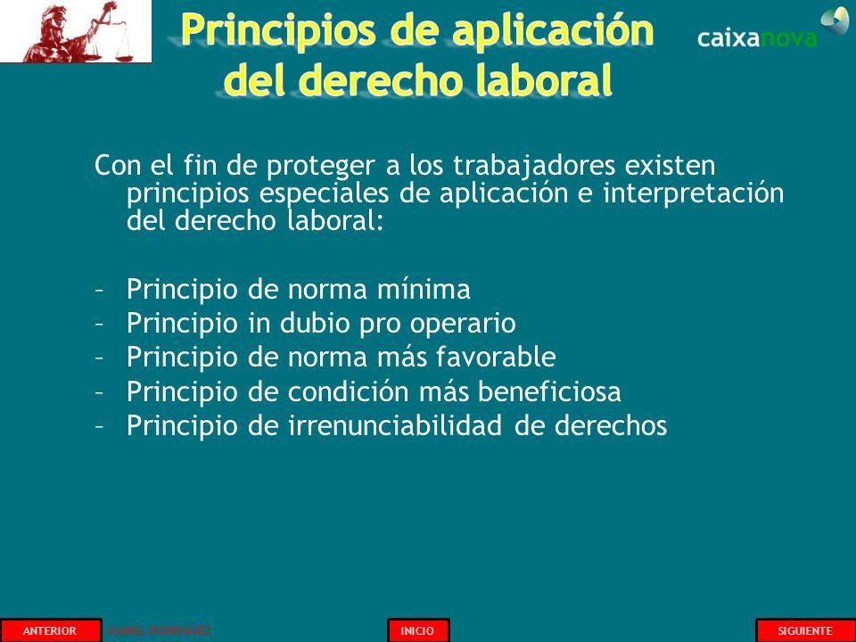 Con el fin de proteger a los trabajadores existen principios especiales de aplicación e interpretación del derecho laboral: –Principio de norma mínima