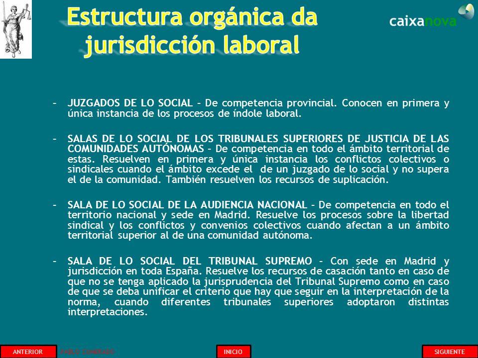 –JUZGADOS DE LO SOCIAL – De competencia provincial. Conocen en primera y única instancia de los procesos de índole laboral. –SALAS DE LO SOCIAL DE LOS