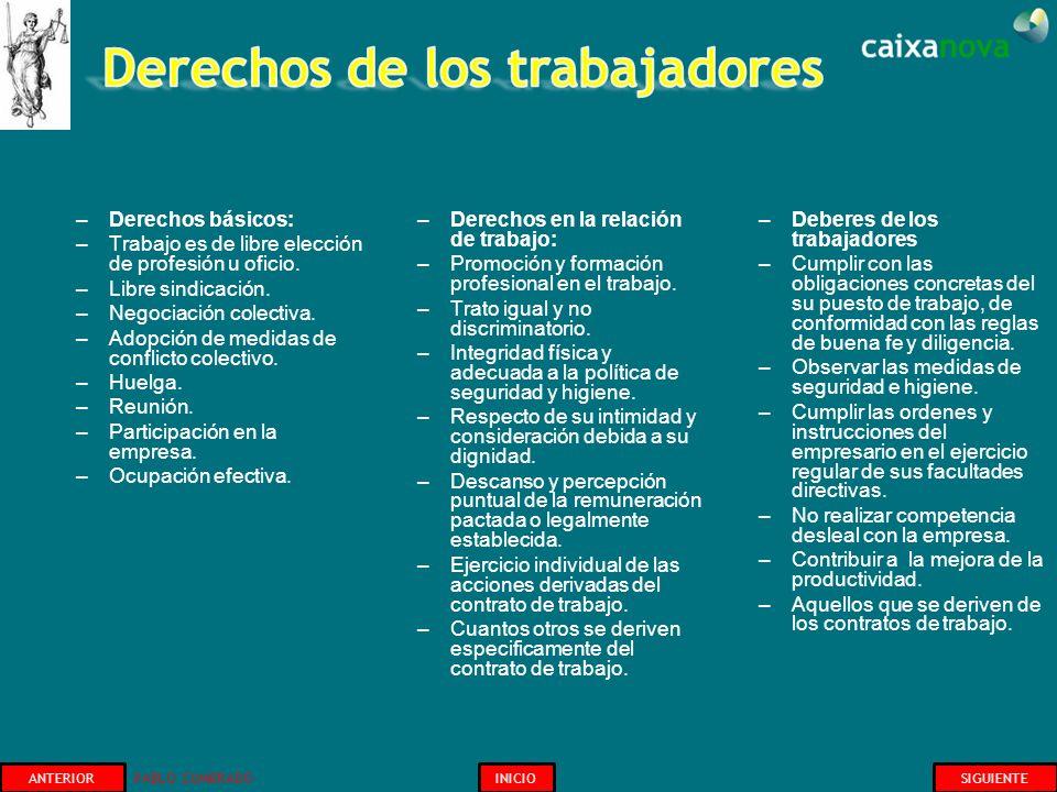 –Derechos básicos: –Trabajo es de libre elección de profesión u oficio. –Libre sindicación. –Negociación colectiva. –Adopción de medidas de conflicto