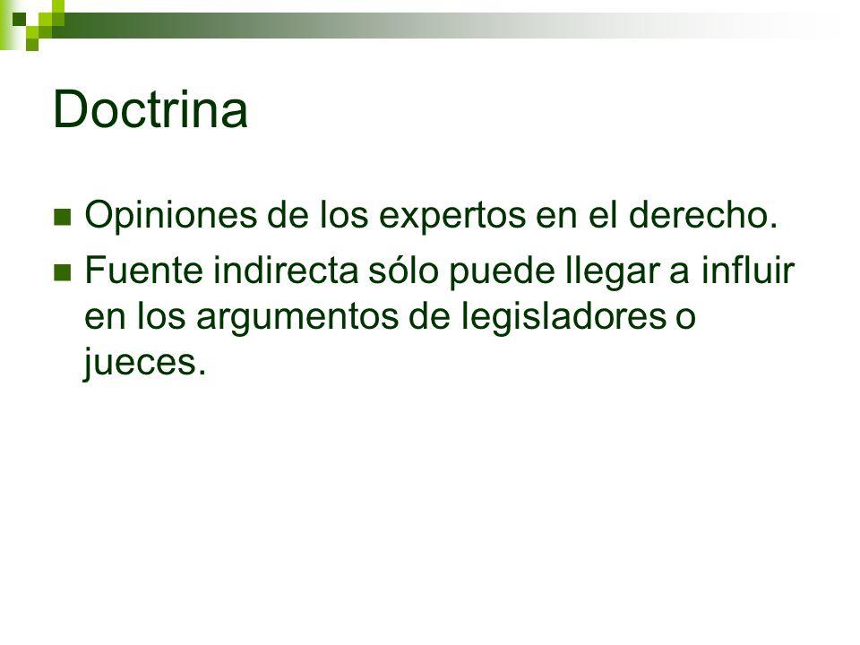 Doctrina Opiniones de los expertos en el derecho. Fuente indirecta sólo puede llegar a influir en los argumentos de legisladores o jueces.