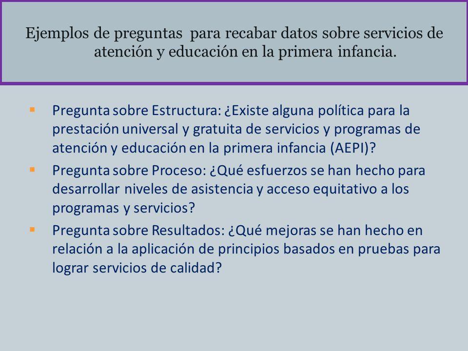 Ejemplos de preguntas para recabar datos sobre servicios de atención y educación en la primera infancia. Pregunta sobre Estructura: ¿Existe alguna pol