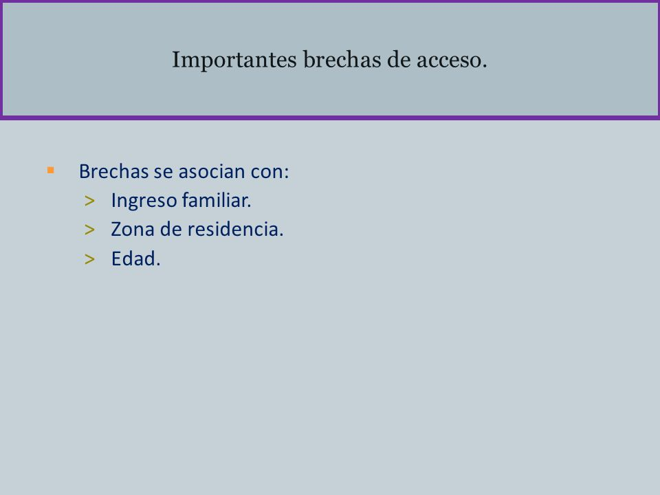 Importantes brechas de acceso. Brechas se asocian con: >Ingreso familiar. >Zona de residencia. >Edad.