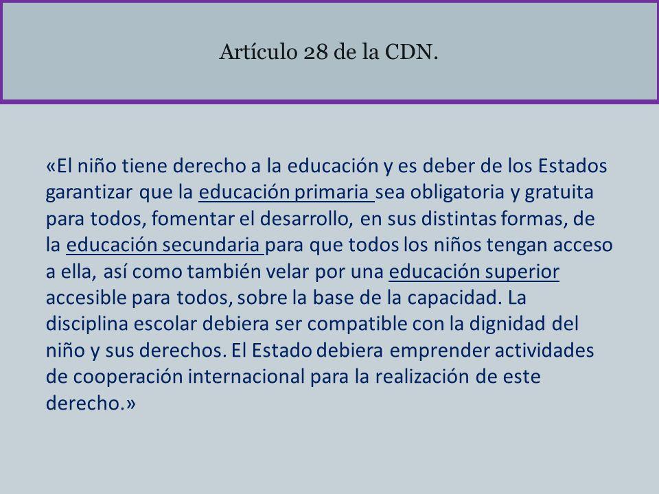 Artículo 28 de la CDN. «El niño tiene derecho a la educación y es deber de los Estados garantizar que la educación primaria sea obligatoria y gratuita
