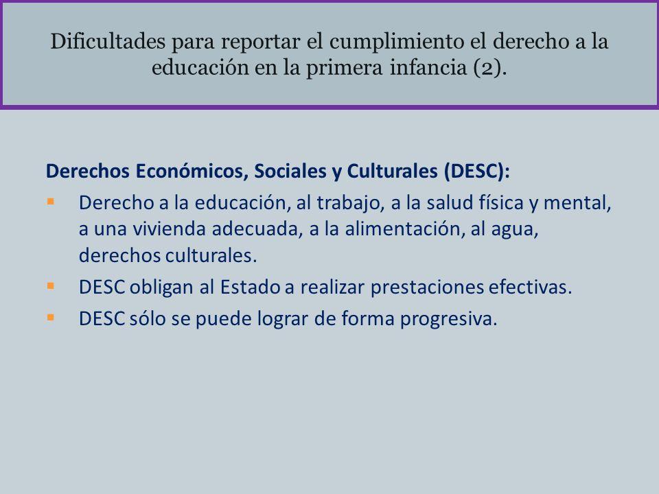 Dificultades para reportar el cumplimiento el derecho a la educación en la primera infancia (2). Derechos Económicos, Sociales y Culturales (DESC): De