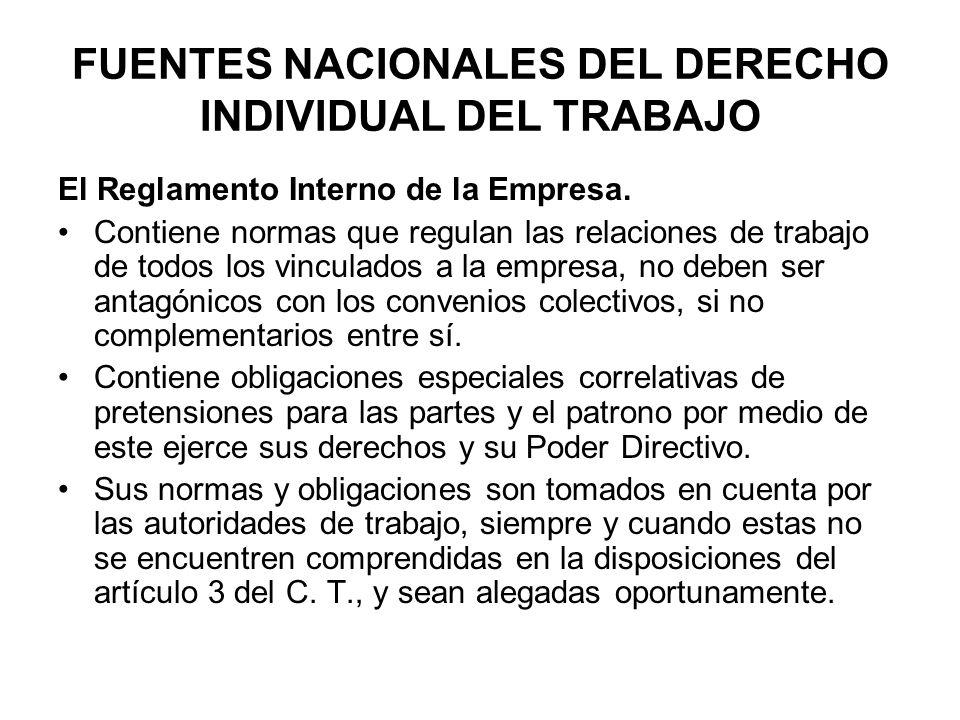 FUENTES NACIONALES DEL DERECHO INDIVIDUAL DEL TRABAJO El Reglamento Interno de la Empresa. Contiene normas que regulan las relaciones de trabajo de to