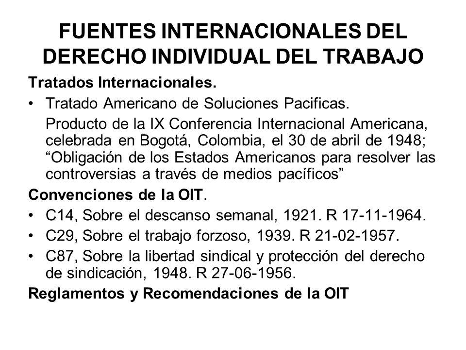 FUENTES INTERNACIONALES DEL DERECHO INDIVIDUAL DEL TRABAJO Tratados Internacionales. Tratado Americano de Soluciones Pacificas. Producto de la IX Conf