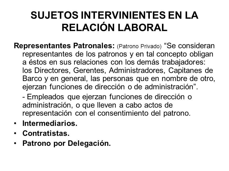 SUJETOS INTERVINIENTES EN LA RELACIÓN LABORAL Representantes Patronales: (Patrono Privado) Se consideran representantes de los patronos y en tal conce