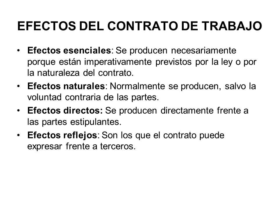 EFECTOS DEL CONTRATO DE TRABAJO Efectos esenciales: Se producen necesariamente porque están imperativamente previstos por la ley o por la naturaleza del contrato.
