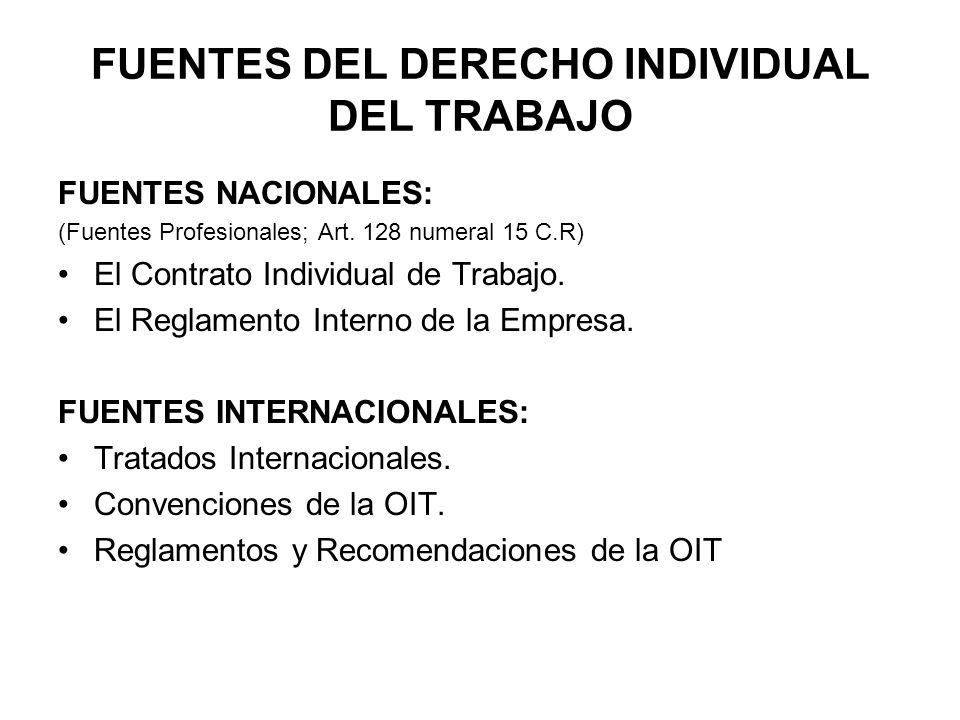 FUENTES DEL DERECHO INDIVIDUAL DEL TRABAJO FUENTES NACIONALES: (Fuentes Profesionales; Art. 128 numeral 15 C.R) El Contrato Individual de Trabajo. El