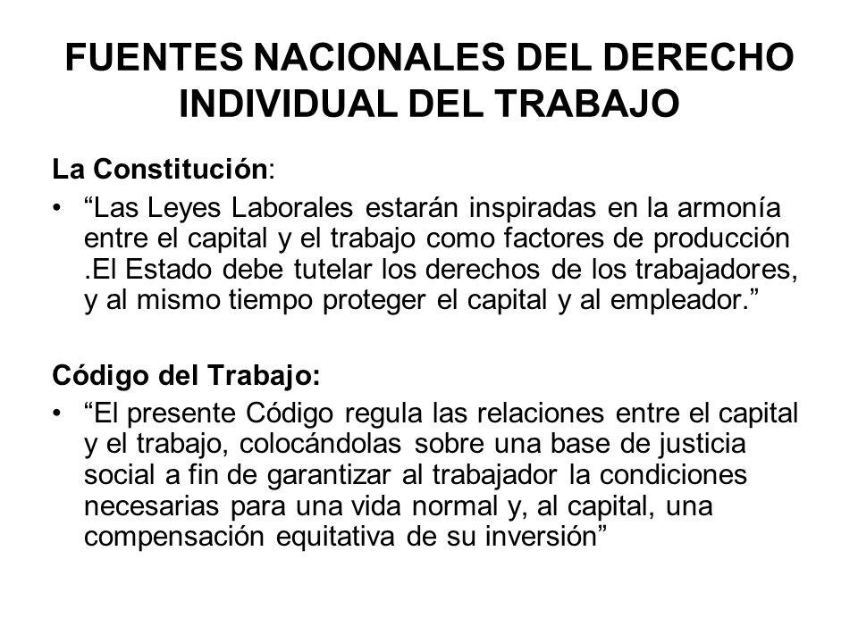 FUENTES NACIONALES DEL DERECHO INDIVIDUAL DEL TRABAJO La Constitución: Las Leyes Laborales estarán inspiradas en la armonía entre el capital y el trab