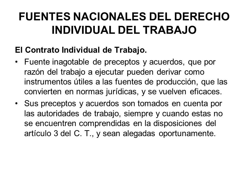 FUENTES NACIONALES DEL DERECHO INDIVIDUAL DEL TRABAJO El Contrato Individual de Trabajo. Fuente inagotable de preceptos y acuerdos, que por razón del