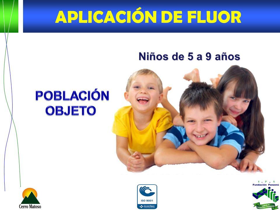 Niños de 5 a 9 años APLICACIÓN DE FLUOR