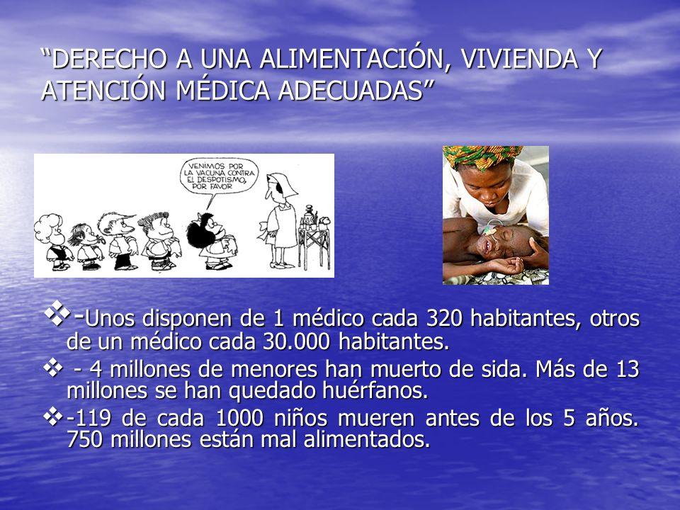 DERECHO A UNA ALIMENTACIÓN, VIVIENDA Y ATENCIÓN MÉDICA ADECUADAS - Unos disponen de 1 médico cada 320 habitantes, otros de un médico cada 30.000 habit